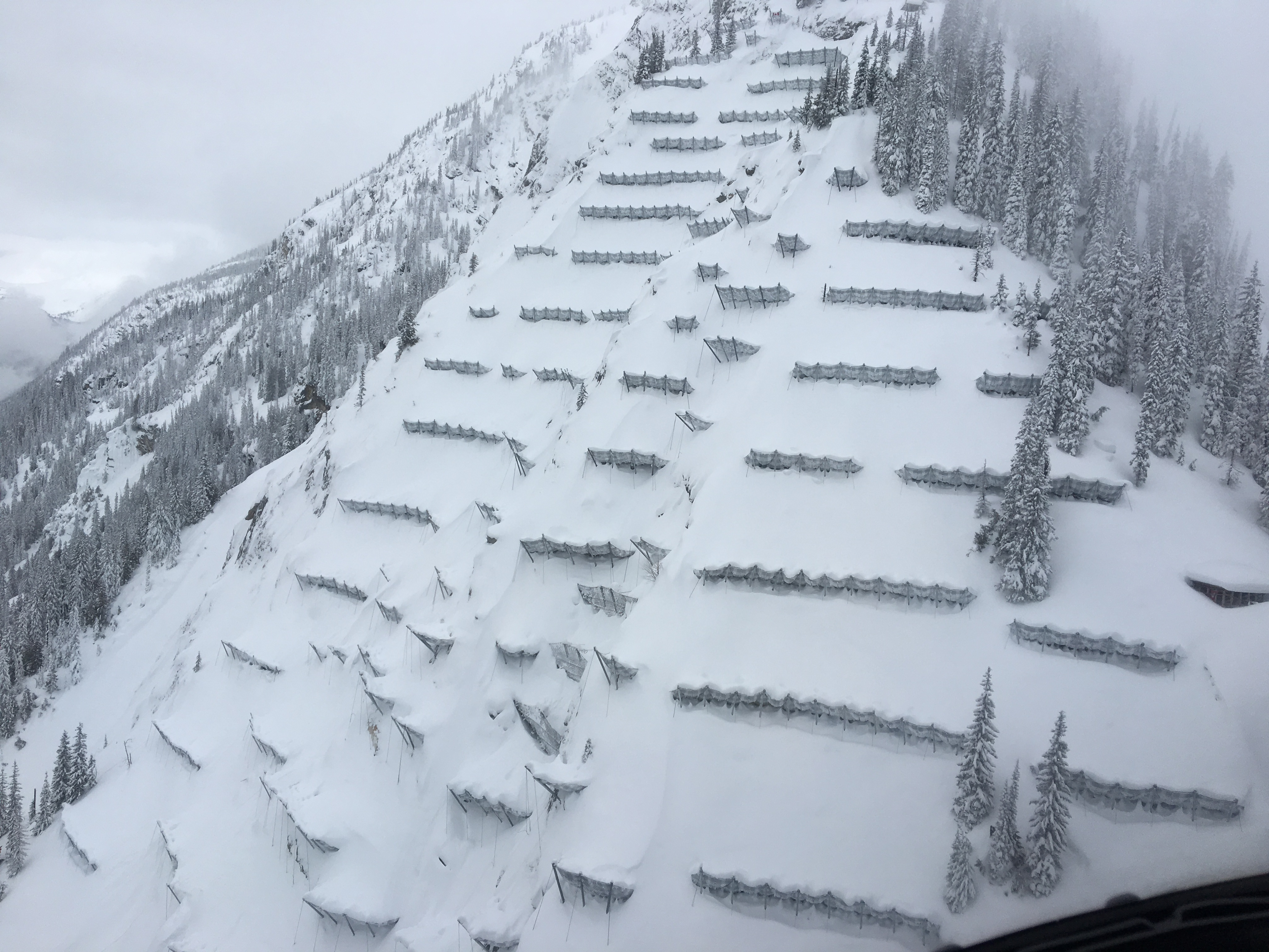 Trans-Canada Highway Avalanche Mitigation Project for Glacier National Park snow nets support structure